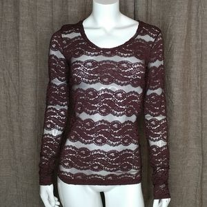 BKE long sleeve lace brown top size XS